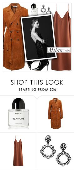 """""""How to Style a Monochromatic Camel Look with a Duster Coat and Slip Dress for Fall Travel to Milan, Italy"""" by outfitsfortravel ❤ liked on Polyvore featuring Byredo, BaubleBar and Gianvito Rossi"""