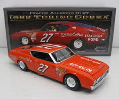 1969 DONNIE ALLISON #27 EAST POINT FORD TORINO COBRA *AUTOGRAPHED* 1/24 UNIVERSITY OF RACING LEGENDS DIECAST