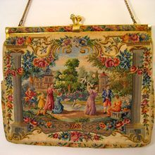 Vintage Petit Point Scenic Purse Figural Handbag Bag