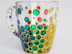 Colorful Bubble coffee mug Painted Bubbles by StainedGlassHandmade