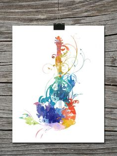 watercolor paintings of guitars - Google Search