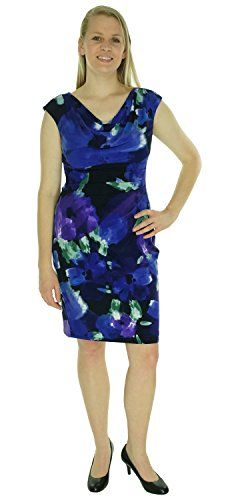 Ralph Lauren Light Navy Cap Sleeve Cowl Neck Floral Print Dress