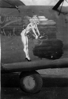 "B-24 Liberator - ""Our Gal III"", 42-100313 - This aircraft was flown from California by Russel S . Wilson in January 1944 and assigned to the 22nd Bombardment Group. Formerly known as 'Special Delivery' she was marked with the letter T on the tail. On 10 March 1944 with Group C. O. Lt. Col. Richard W. Robinson at the controls she led the 22nd's B-24s on their first combat mission against the Japanese. Flew 43 Combat Missions until 12/22/44 when it was damaged in an accident. Aviation Humor, Aviation Art, Airplane Art, Garage Art, Pin Up Photography, Vintage Airplanes, Nose Art, Vintage Magazines, Pin Up Art"
