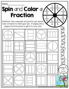 Fun math fractions worksheet with art. Spin and Color a Fraction! What a fun way to learn and practice fractions! Maths Guidés, Teaching Fractions, Fractions Worksheets, Math Fractions, Math Classroom, Fun Math, Teaching Math, Equivalent Fractions, Math Math