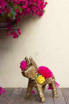 DIY Gilded Paper Flower Burro Pinata for Cinco de Mayo