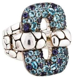Sterling silver John Hardy Kali rectangular link ring featuring faceted oval round topaz and faceted round iolite. John Hardy Jewelry, Cocktail Rings, Topaz, Jewelry Design, Sterling Silver, Link