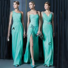 Three Style V Neck A Line Cheap Turquoise Mint Green Bridesmaid Dresses 2016 New Arrival Wedding Party Dress Vestidos Long Chiffon Prom Gown Champagne Colored Bridesmaid Dresses Cheap Bridesmaid Dress From Hotdresses, $90.06| Dhgate.Com