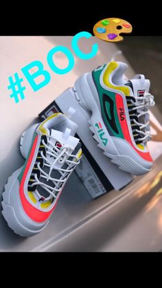 The custom filas started off as all white, and now as you see a custom shoe with a fire colorway. Cute Sneakers, Shoes Sneakers, Fila Sandals, Fila Outfit, Aesthetic Shoes, Fresh Shoes, Hype Shoes, Pretty Shoes, Custom Shoes