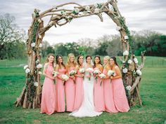Amsale bridesmaids, find it at Mary Me Bridal. Bridesmaid Tips, Amsale Bridesmaid, Bridesmaid Dress Styles, Bridesmaid Bouquet, Pink Bridesmaids, Camo Wedding, Wedding Bride, Dream Wedding, Fantasy Wedding