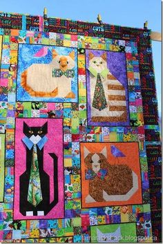 "detail of ""cats with collars"" quilt, from the tamarack shack blog"