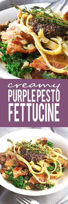 Creamy Purple Pesto Fettuccine - Crispy bacon, tangy slithers of sundried tomatoes, super healthy kale! MY FAVORITE FETTUCINE!!
