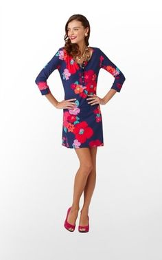 Caila Dress in Bright Navy Garden Games $108 (w/o 8/5/12) #lillypulitzer #fashion #style by tamera