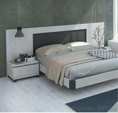 Dormitorio matrimonio 290 cm acabado en fresno, textil negro y detalles metal negro.Disponible en varias medidas y acabados. Mueble dormitorio...