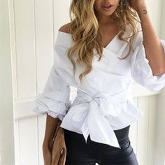 Sexy Off Shoulder Blue Striped Ruffled Women Blouses Tops Elegant Bow Ruched Sleeves White Shirts Feminino Autumn Casual Blusas T-shirt Dos Nu, Sexy Bluse, Fashion Vestidos, Black Leather Pants, White Shirts, Sexy Shirts, Casual Fall, Shirt Blouses, Blouses For Women