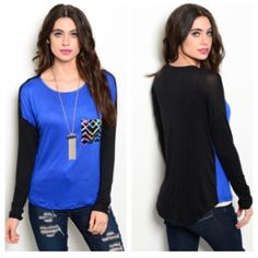 "Blue/ black top (S M L) Blue/ black top  S: L 27"" B 40""• M: L 27"" B 42""• L 28"" B: 42"" Materials- 95% rayon/ 5% spandex. This is a soft and stretchy shirt. Very slightly high low style. Runs large! Great for an oversized look and feel. Availability- S•M•L • 2•1•2 PLEASE do not purchase this listing. Price is firm unless bundled. No trades Boutique Tops Tees - Long Sleeve"