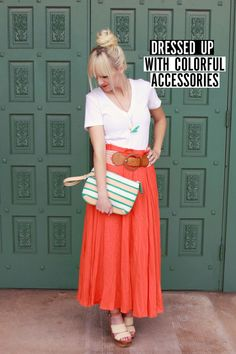 sandals + coral maxi skirt + white tee + belt + turquoise accessories