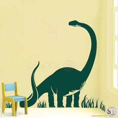 BRACHIOSAURUS DINOSAUR WALL DECALS  This part of the Dinosaur world creature will make sure to stand out in any room. Great for a nursery, or kids room. Made out of high quality removable vinyl that is easy to install and looks as if its painted on. Decorating made easy by adding wall decals or murals to walls, ceilings, furniture, windows, doors, etc., you instantly create an intriguing and unique look in any home.  Sizes of Dinosaur (without the grass) 28 x 31 38 x 43 45 x 50 53 x 60 66 x…