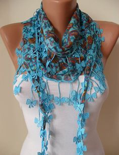 Blue and Brown Scarf with Trim Edge Shaped by SwedishShop on Etsy, $11.90