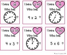 """Happy Valentine's Day! Please enjoy this free """"I have . . . who has . . ."""" Valentine's-themed game. This game contains 36 colour game cards and allows students to practice two important math skills - telling time & multiplication."""