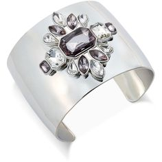 Inc International Concepts Silver-Tone Open Crystal Floral Cuff... (1.885 RUB) ❤ liked on Polyvore featuring jewelry, bracelets, silver, crystal stone jewelry, crystal cuff bracelet, hinged cuff bracelet, inc international concepts and silvertone jewelry