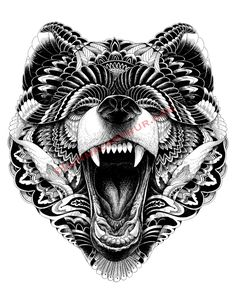 wolf face black and white - Google Search