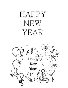 New Year Geeting Card Coloring Page