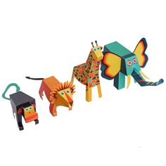 To cut, fold, glue, and play.  PUKACA challenges you to assemble these 4 Jungle Animals Paper Toys! And these paper toys are very special. You can move their heads!