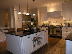 Hardwood, Island, Crown molding, Breakfast Bar, Traditional, Custom Hood/Ventilation, Soapstone, Built-in bookshelves/cabinets, Flat Panel, U-Shaped, Undermount, Pendant