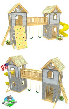 A two story, two part play-set plan connected by a 2nd level bridge.  Two interior trap doors and plenty of places to hang a swing, install a slide, ladder or rock wall.  Download the plan today!