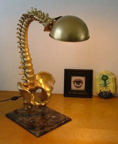 Spine lamp with marble base, 60 watt bulb, flexible goose neck lamp.    Mark Beam    (Want!!)  Source: markbeam.com