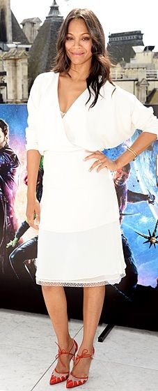 The pregnant star chose an angelic Chloe dress with a faux-wrap bodice and ruby red Bionda Castana pumps for a Guardians of the Galaxy Photocall.