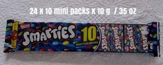 24 x 10 Mini Pack x 10g / 35 oz Smarties Made in CANADA Free Shipping To USA #Nestle Sweet Treats, Packing, Canada, Free Shipping, Usa, Mini, How To Make, Bag Packaging, Cheer Snacks