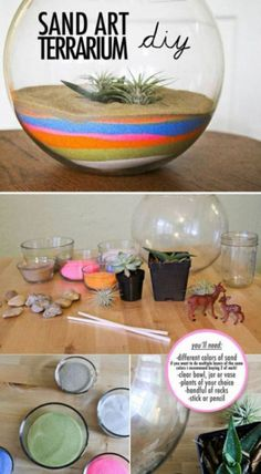 Here's a way to bring something GREEN to your place. This multicolored sand terrarium will surely do the trick! #theberry #terrariums #DIY #home #office #crafts
