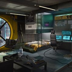 This is the room of a cyberpunk girl. She is a vendor, weapon trader and engineer, she sell weapon mods and weapon augmentations, she can modify and customize weapons. She is not legal so you don't find her in a shop or Spaceship Interior, Futuristic Interior, Room Interior, Interior And Exterior, Interior Design, Cyberpunk City, Sci Fi Environment, Gaming Room Setup, Game Room Design
