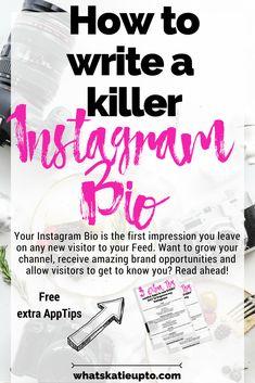 How to write a killer Instagram Bio, Blogging, Blogger, Instagram Tips, Instagram, Instagram Advice, Insta Bio, Bio editing, Instagram Schedule, Instagram Bio, Instagram Tricks, Instagram Ideas, Ig Bio, Insta Bio, Writing A Bio, Writing Prompts, Bio Food