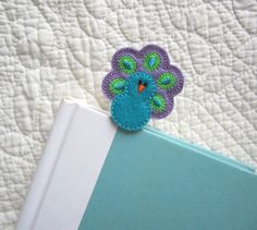 Kids Girls Peacock Bookmark, Felt Peacock Bookmark, Paper Clip Sytle Place Holder, bmpeacock17