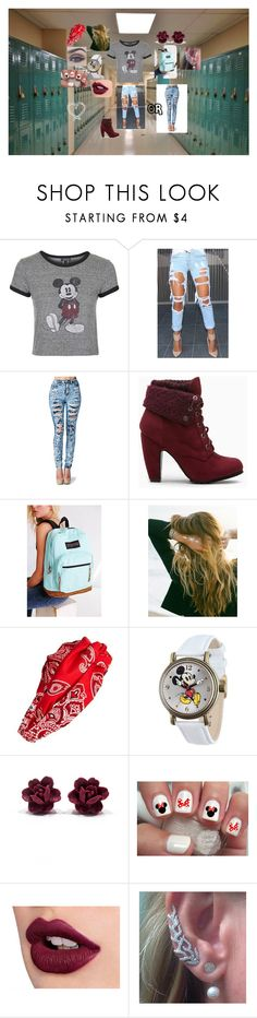 """""""sexy school time ;)"""" by lauraissweetandawesome on Polyvore featuring Topshop, JanSport, Lulu DK, Cara, Disney, women's clothing, women's fashion, women, female and woman"""