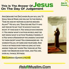 Jesus PBUH on the day of judgement Jesus In Islam, Jesus Peace, Peace Be Upon Him, Deities, Quran, Christianity, Verses, Thats Not My, This Or That Questions