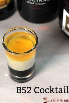 Classic B52 cocktail recipe: Kahlua, Bailey's, Grand Marnier | drink recipe | B-52 | #recipes #cocktails
