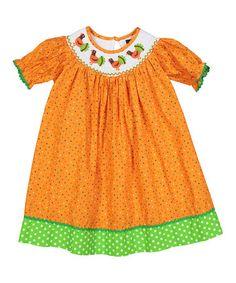 Look what I found on #zulily! Orange Polka Dot Turkey Bishop Dress - Infant, Toddler & Girls #zulilyfinds
