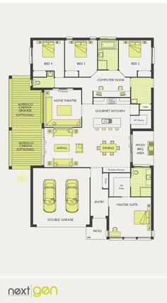 would change the home theatre into a play room/study room instead. McDonald Jones Homes - Newhaven Collection - Floorplan 4 Bedroom House Plans, New House Plans, Dream House Plans, Modern House Plans, House Floor Plans, Building Plans, Building A House, Mcdonald Jones Homes, I Love House
