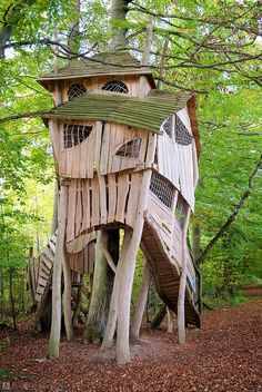Crooked Tree House Design For Fun Children. A unique tree house is a house made of a tree with a unique house design. The tree … Crooked Tree, Crooked House, Crooked Man, Modern Tree House, Cool Tree Houses, Tree House Designs, Unusual Homes, In The Tree, Little Houses
