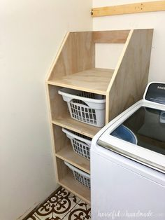 Build a stackable laundry basket organizer to keep your laundry room organized. This easy to build unit fits next to your washer and is made out of 1 sheet of plywood. Housefulofhandmade.com
