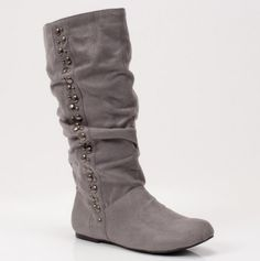 Gray Slouch Boots with Studded Detail.