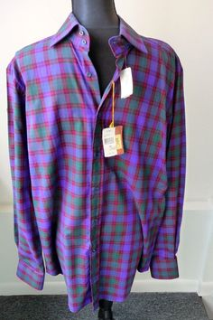 Etro Men's NWT Plum Navy Checked Long Sleeve Shirt Sz Lrg 42 Neiman Marcus $350. #Etro #ButtonFront