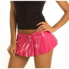 SEXY Pink PVC PLEATED MICRO MINI SKIRT NWTS FORPLAY MICRO TINY VINYL MINI SKIRT #Forplay #Pleated