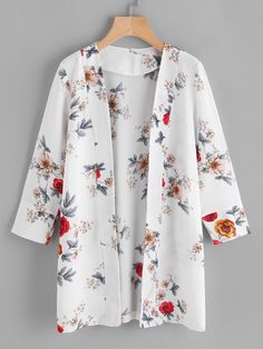 SheIn offers Random Florals Open Front Coat & more to fit your fashionable needs. SheIn offers Random Florals Open Front Coat & more to fit your fashionable needs. Kimono Fashion, Modest Fashion, Hijab Fashion, Fashion Outfits, Mode Kimono, Chiffon Kimono, Batik Dress, Floral Kimono, What Is Fashion