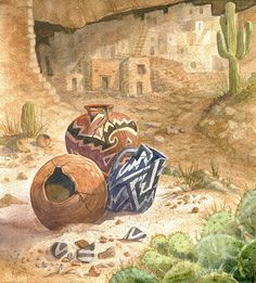 Anasazi Painting - Remnants Of The Ancient Ones by Marilyn Smith Watercolor Pictures, Watercolor Paintings, Watercolors, Native American Pottery, Native American Art, Canvas Photo Transfer, Southwestern Art, Southwest Decor, The Ancient One