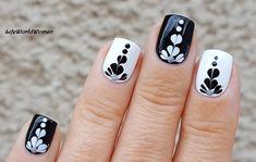 #Black & #White #Heart #Flower #Marble #Nails
