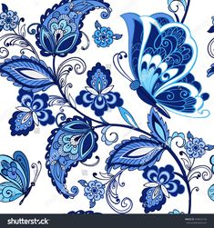 Vintage flowers ornament with but… Traditional oriental seamless paisley pattern. Vintage flowers ornament with butterflies in blue colors. Decorative ornament backdrop for fabric, textile, wrapping paper. Motif Paisley, Paisley Art, Paisley Pattern, Paisley Design, Ink Painting, Fabric Painting, Tattoo Muster, Ornament Drawing, Flower Ornaments